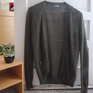 Fossil Forest Green Open Knit Cardigan